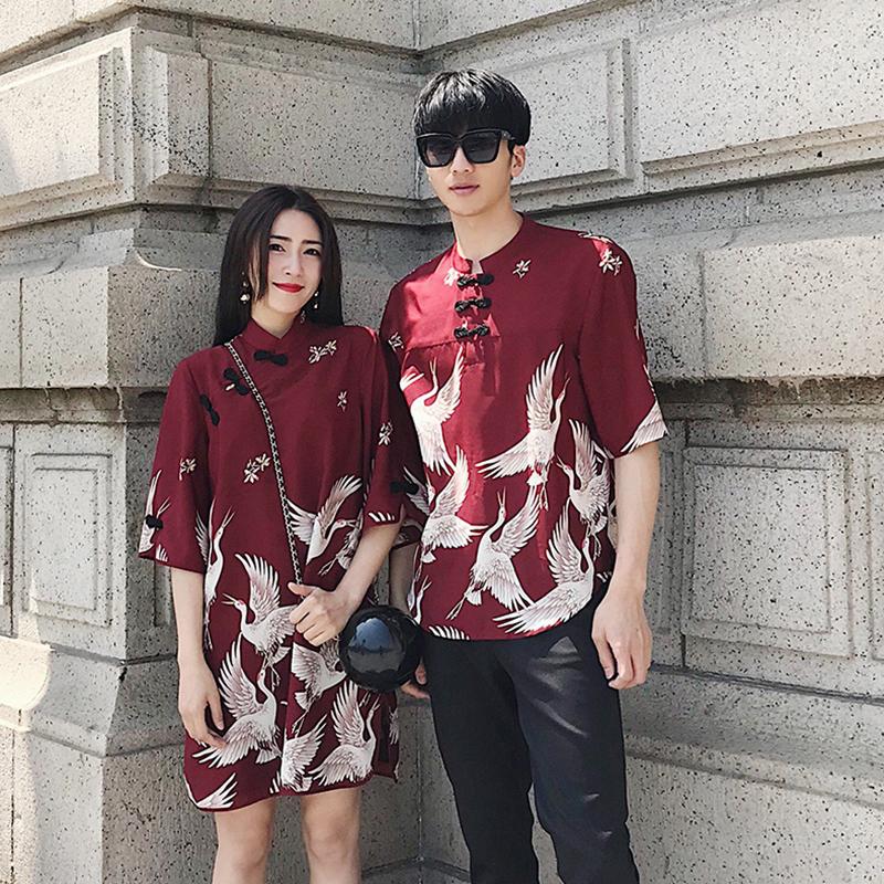 阿姐家仙鹤印花情侣装2018新款中国风复古旗袍中长款五分袖连衣裙