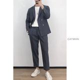 2020新款韩版休闲西服潮男两粒扣西服套装英伦风时尚宽松垂感西装