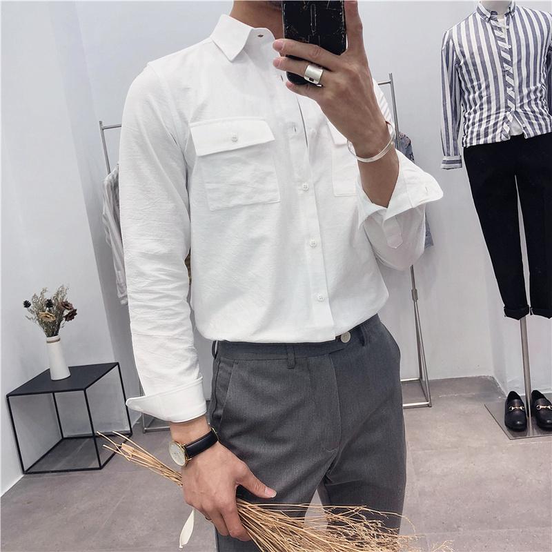 115.00元包邮2019新款长袖简约韩版潮流白衬衣