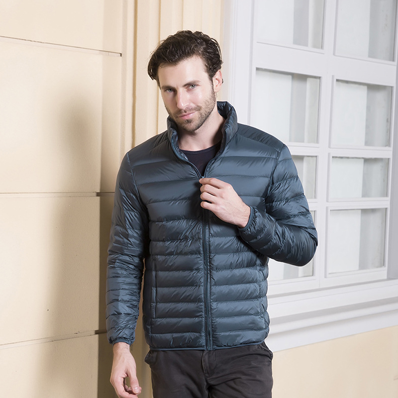 Cross border lightweight down jacket mens standing collar without hat slim fit youth sports casual winter coat 2020