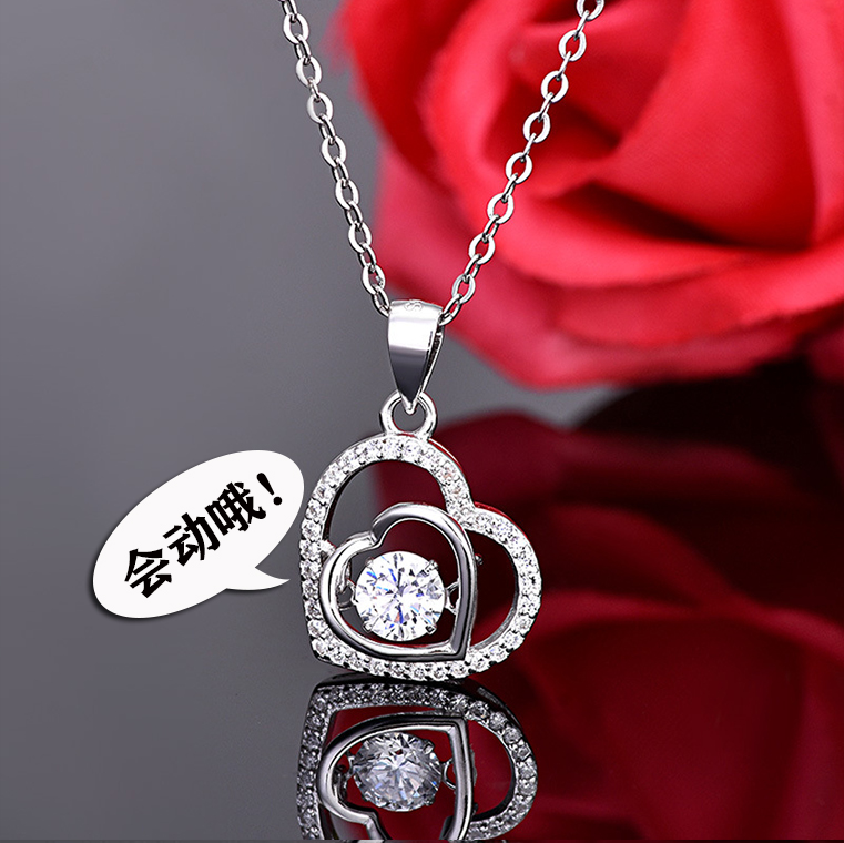 New S925 Sterling Silver Double Heart Necklaces original design for women