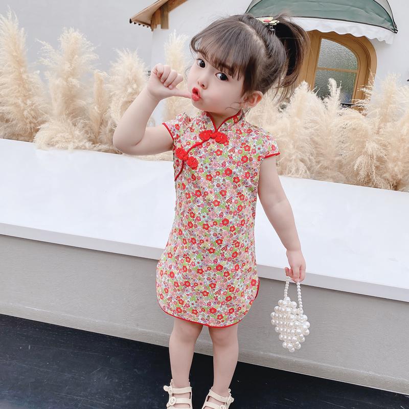 女童改良汉服2021夏季新款儿童洋气旗袍小女孩宝宝中国风连衣裙子