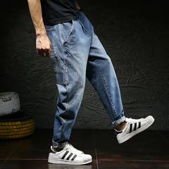 2019新款男士宽松大码牛仔裤男日系复古哈伦裤男牛仔长裤