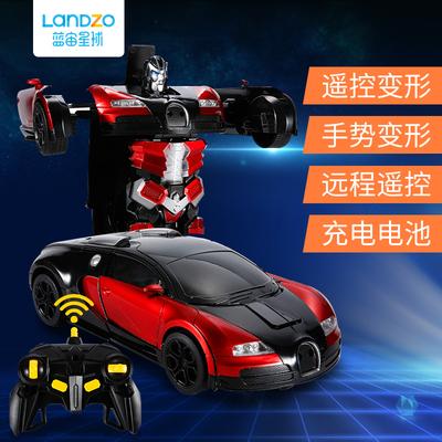 儿童感应遥控变形汽车金刚机器人遥控车充电动男孩赛车玩具车礼物