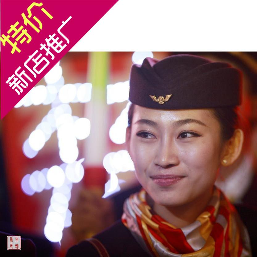 Stewardess hat pilot hat Hainan Airlines crew purple hat double hat top pilot student