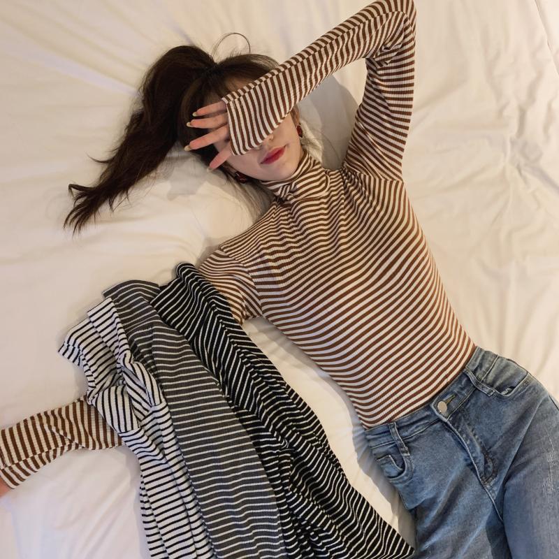 2018秋装女装韩版宽松百搭高领基础款长袖条纹T恤上衣打底衫学生
