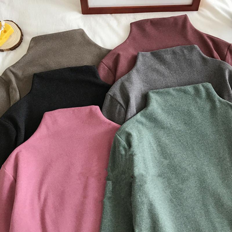 半高领保暖打底衫女秋冬季2020新款韩版无痕洋气修身内搭加厚上衣