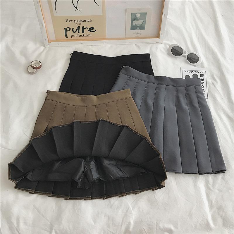 A字百褶半身裙秋冬新款2020韩版黑色高腰显瘦加厚百搭学生短裙女