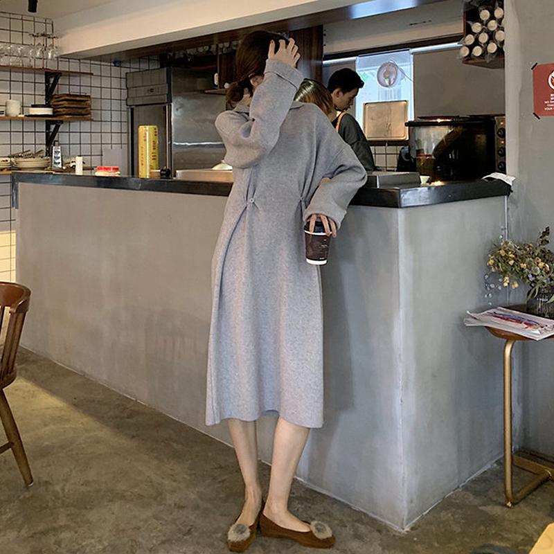 2018秋冬新款简约纯色气质修身显瘦两种穿法中长款针织裙连衣裙女