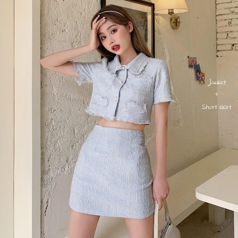 轻熟套装洋气高腰包臀半身短裙小香风夏季法式开衫两件套时尚女装