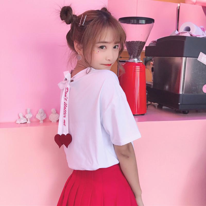 春夏女装韩版可爱后背绑带字母宽松小心机短袖T恤学生打底衫上衣
