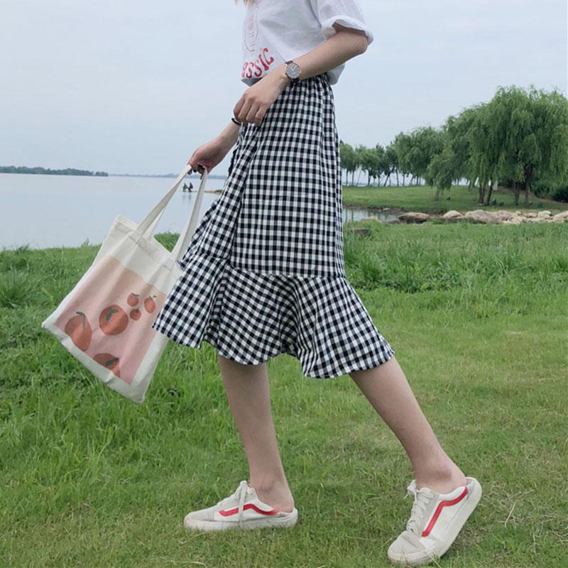 韓版chic不規則格子高腰荷葉邊中長格子半身裙子少女夏季魚尾裙潮