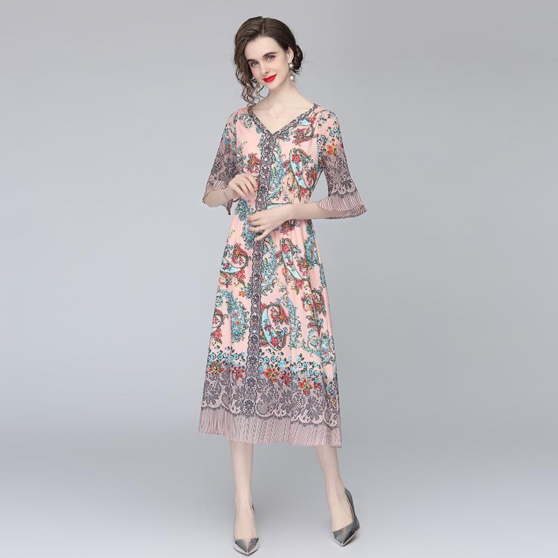实拍-夏季新款大牌雪纺连衣裙女中长款花色宽松大摆裙子