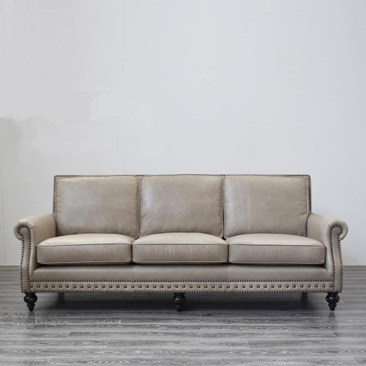 アメリカーノ本革のソファーヘッドの牛革三人のリビングセット家具の復古オイルのろう皮の復古皮の芸術ソファ