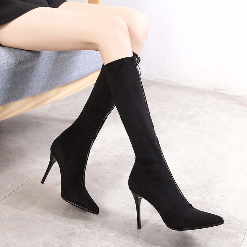 ins瘦瘦鞋 网红尖头高跟长筒靴女细跟拉链靴2019秋冬新款及膝靴子