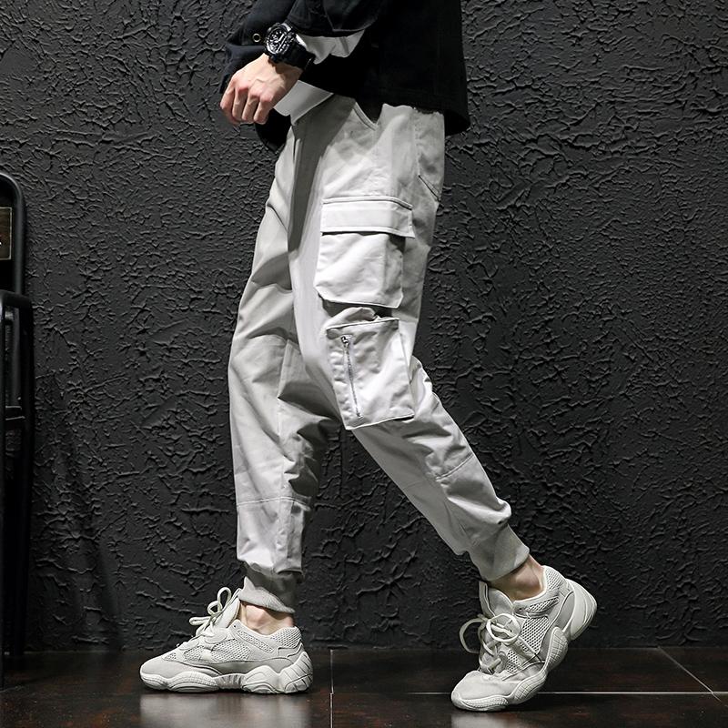 秋冬大码宽松休闲裤长裤水洗多口袋工装裤哈伦裤3006-K823-P75