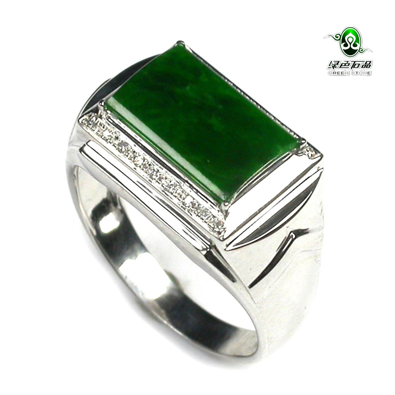 Lssp / green stone gy1200 no counter offer full green jadeite a goods 18K Gold Mens ring certificate