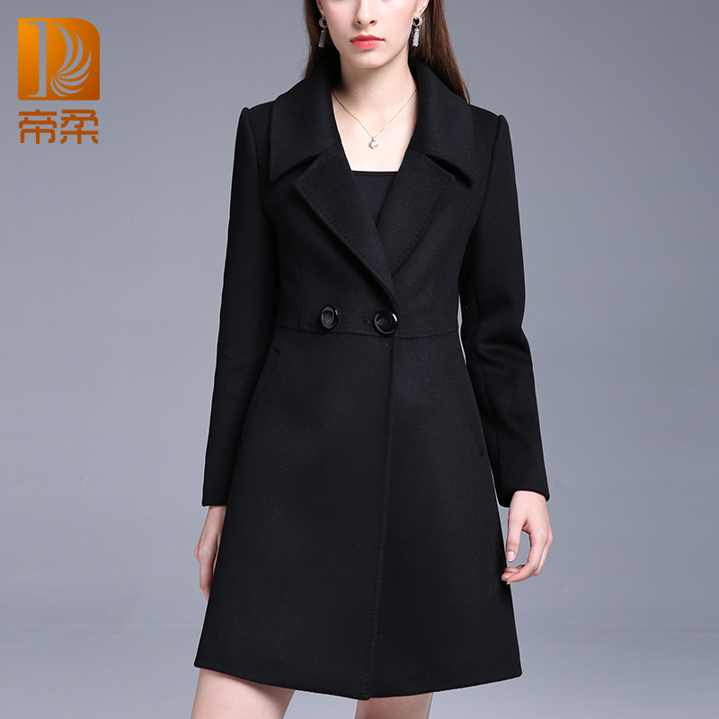 Emperor Rou 2017 winter mid-length slim-fitting suit collar double-breasted coat solid color female woolen coat DR620
