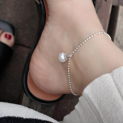 天然珍珠s925银珠圆珠纯银脚链/手链 女款 小众复古设计ins68.00元包邮