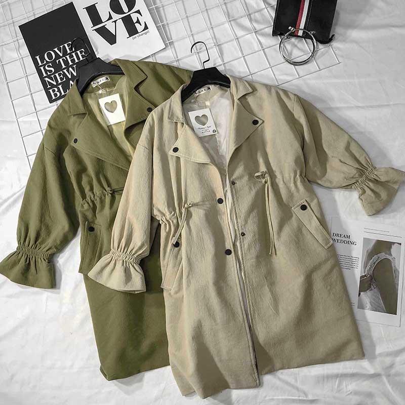 【关注试完改价】柔柔家柔柔秋季韩版长袖收腰显瘦中长款外套风衣
