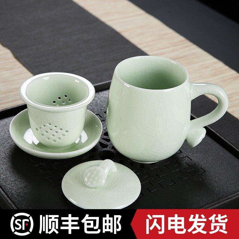 汝窑开片茶杯带盖过滤茶水分离办公室陶瓷个人专用杯喝茶泡茶杯子