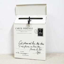 复古铁皮带锁信箱 室外挂墙信报箱创意意见箱 欧式别墅邮箱邮筒
