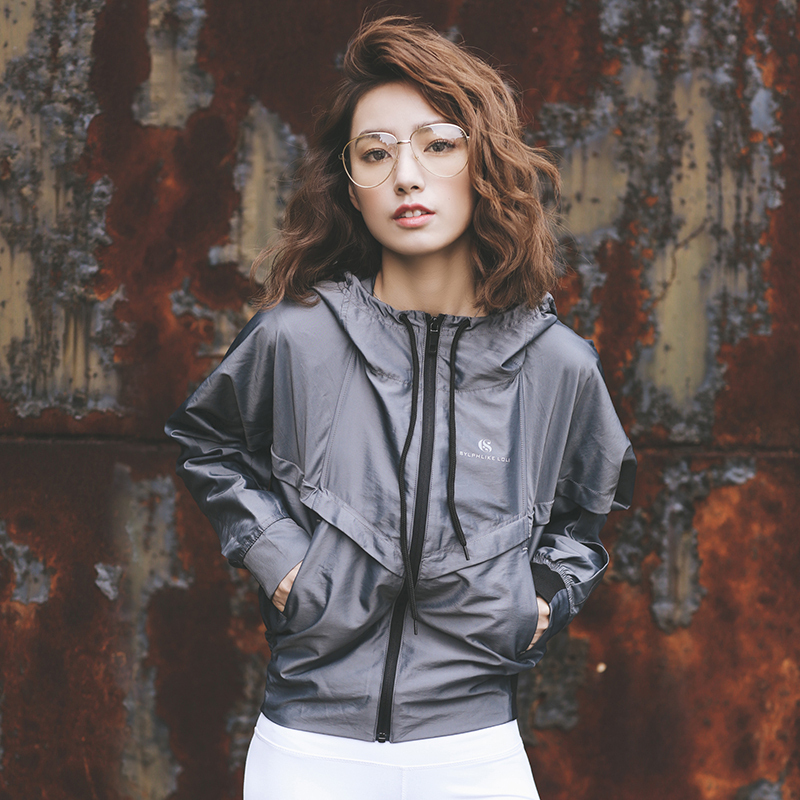 Rowleys hooded sports sunscreen casual womens spring and summer running windproof jacket fitness suit jacket
