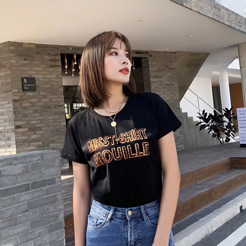 European station heavy industry short sleeve T-shirt women ins over fire embroidery European summer fashion simple top