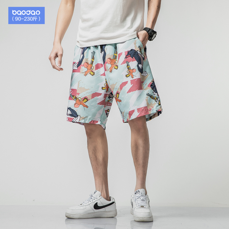 Sports shorts men's summer thin beach pants quick-drying can be launched into the water large size loose tide brand five-point casual pants fat