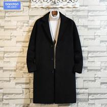 冬季男加棉加厚风衣中长款毛呢子大衣韩版潮流加肥加大码胖子外套