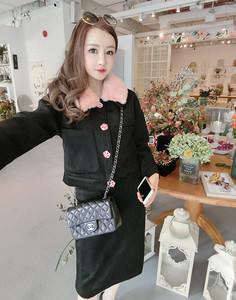 女装新款2017冬黑色毛呢外套两件套包臀裙套装9015