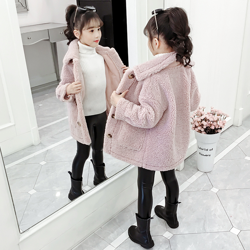 儿童装大童女装秋冬装10女童羊羔毛外套12洋气13加绒加厚大衣15岁