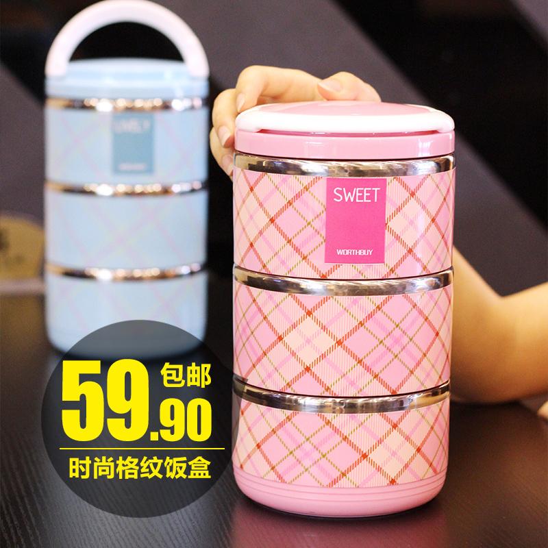 日式不鏽鋼保溫飯盒3層三分格便當盒學生保溫桶 水果盒可拆2層