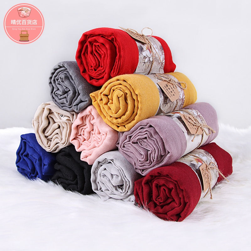 Scarf womens spring and autumn thin and all kinds of pure color silk scarf sun proof cotton hemp Korean version scarf dual purpose scarf women long customized