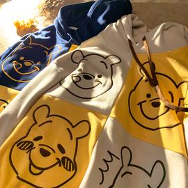 偷吃蜂蜜的熊 美式复古可爱卡通动漫情侣连帽卫衣男女宽松加绒潮