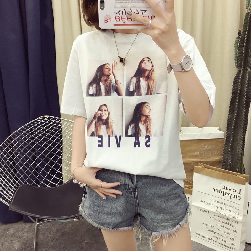 1-11实拍 180克双磨 电脑数码印可爱卡通印花T恤上衣打底衫女