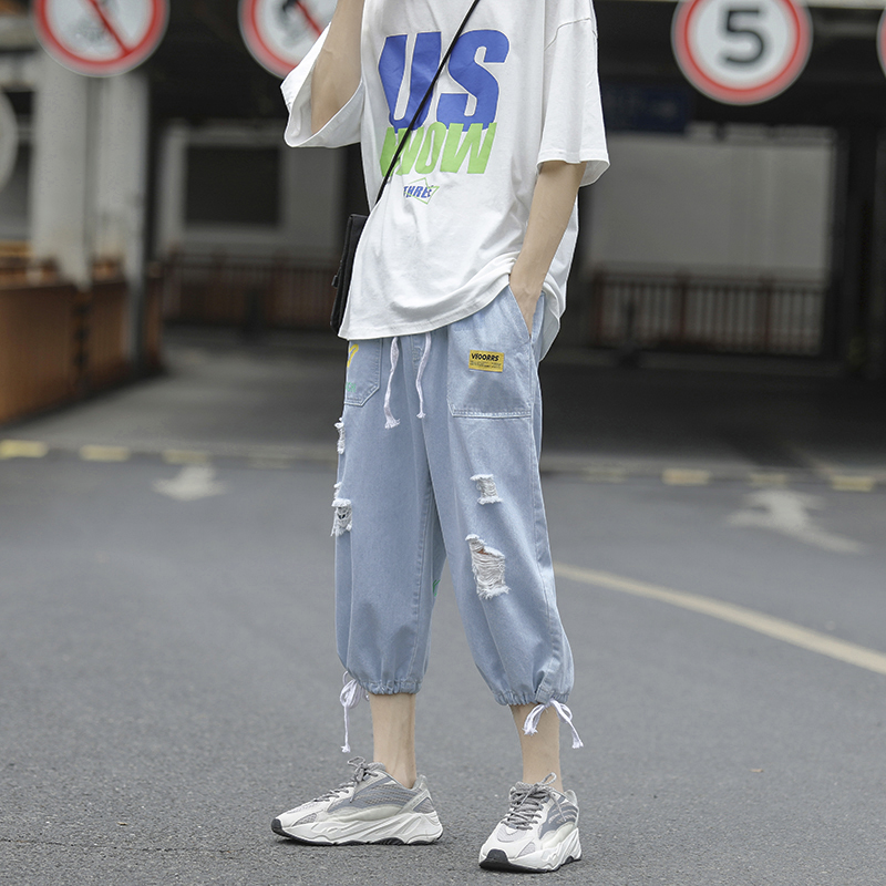 Hong Kong Style loose jeans male students Korean version Lin curved straight pants Les handsome t Unisex tattered pants ins pants