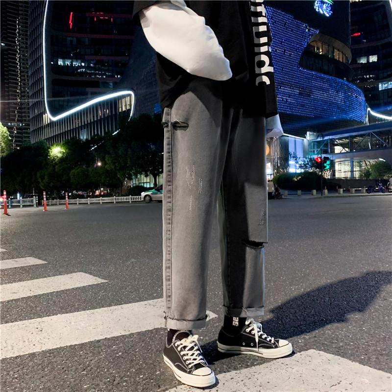 男港风新款精品牛仔裤破洞休闲女裤子714-2-x910-p45