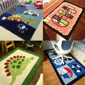 幼儿园加厚卡通地毯儿童房卧室床边毯益智游戏爬行毯地中海风格