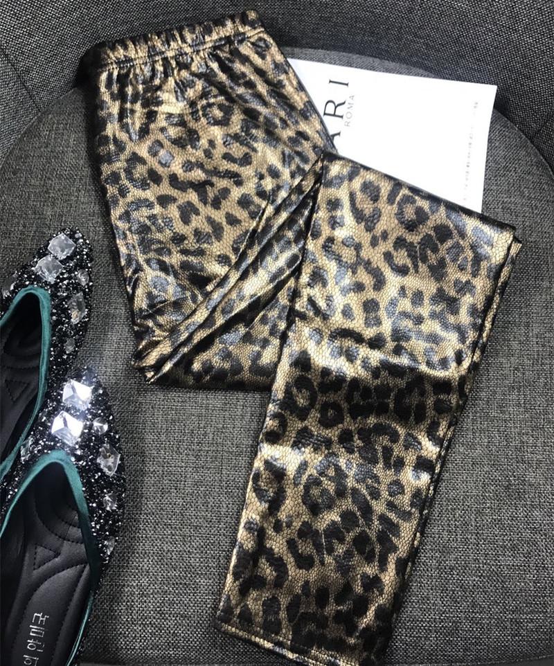 秋冬外穿打底裤新品修身显瘦欧洲站豹纹弹力小脚紧身铅笔长裤女潮