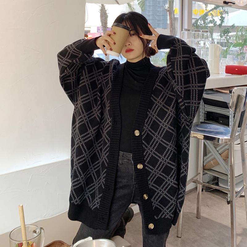 2020秋冬毛衣外套女韩国v领宽松针织衫中长款毛衣开衫大码上衣潮