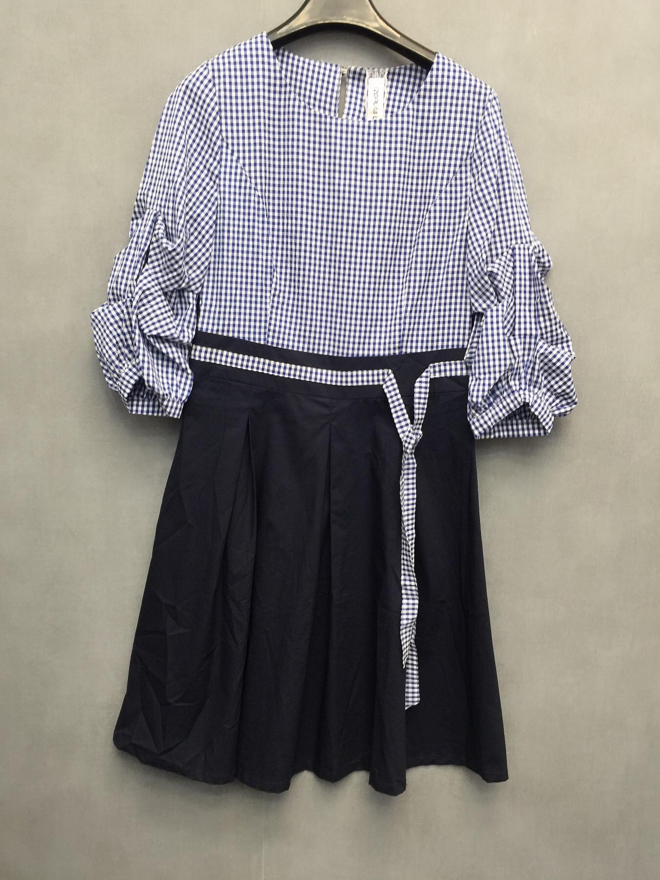 KM秋季新款女装短袖收腰气质中长款职业连衣裙8