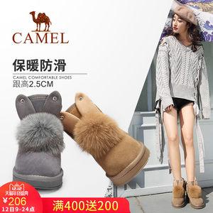 骆驼女靴 2017秋冬季新款兔耳朵纯色雪地靴 加绒棉鞋保暖短筒