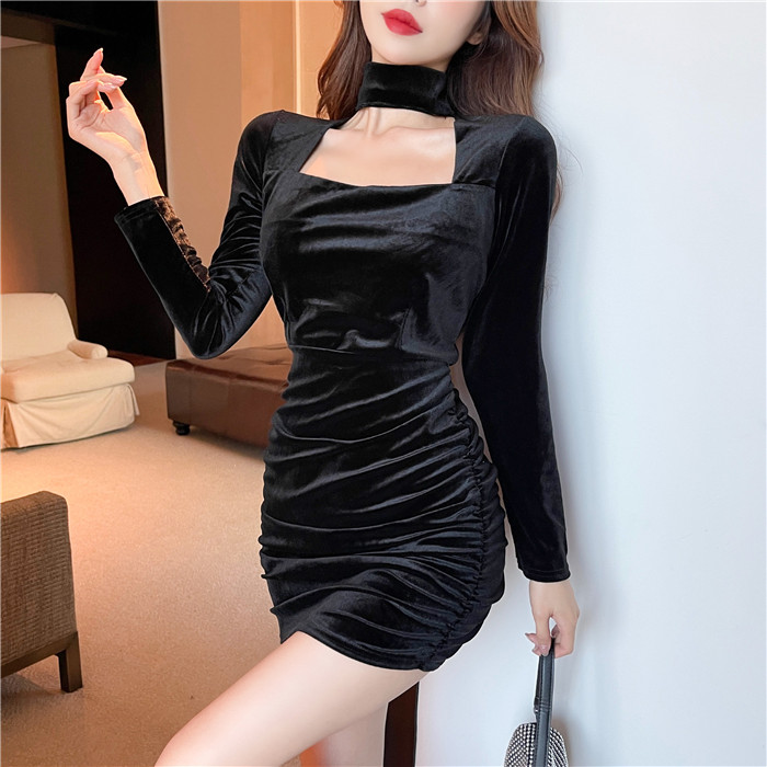 Real shot 5633 ? winter velvet sexy neck wrapped dress buttocks wrapped skirt long sleeve black skirt female
