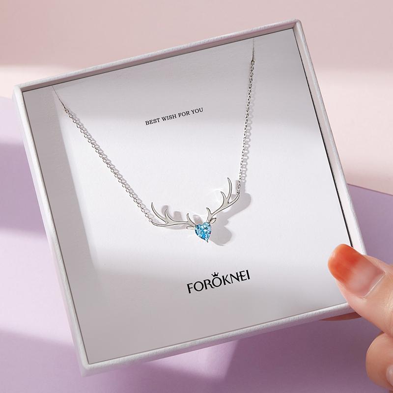 一鹿有你项链2021年新款女夏纯银锁骨链镶施华洛世奇水晶轻奢小众