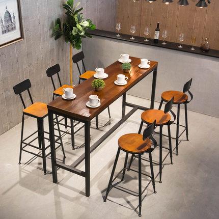 铁艺吧台桌实木简约家用吧台奶茶店靠墙长条桌椅组合阳台高脚桌子
