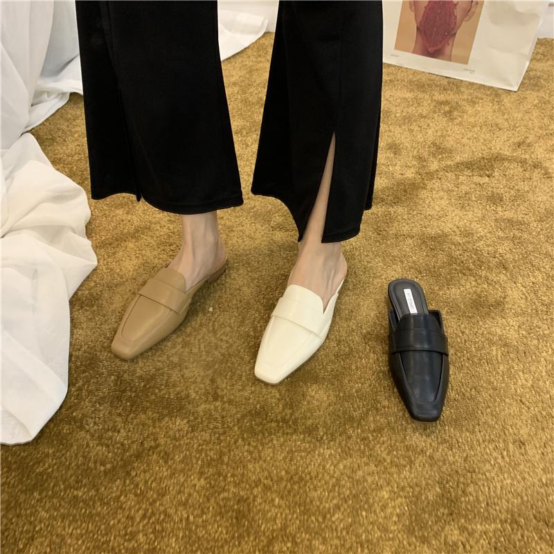 平底外穿包头半拖鞋女鞋子2021年新款春夏时尚百搭韩版穆勒凉拖鞋
