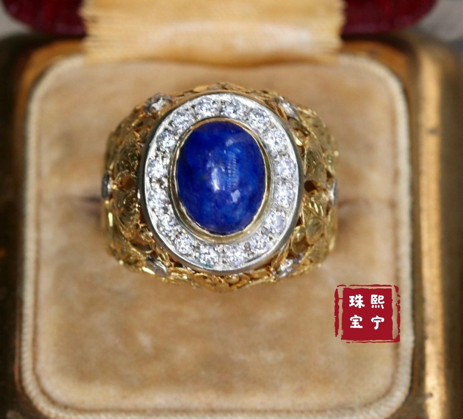 1980年に欧米の骨董品の青い金石の指輪の18 kの金の宝石のアクセサリーの指輪の欧米の骨董の宝石