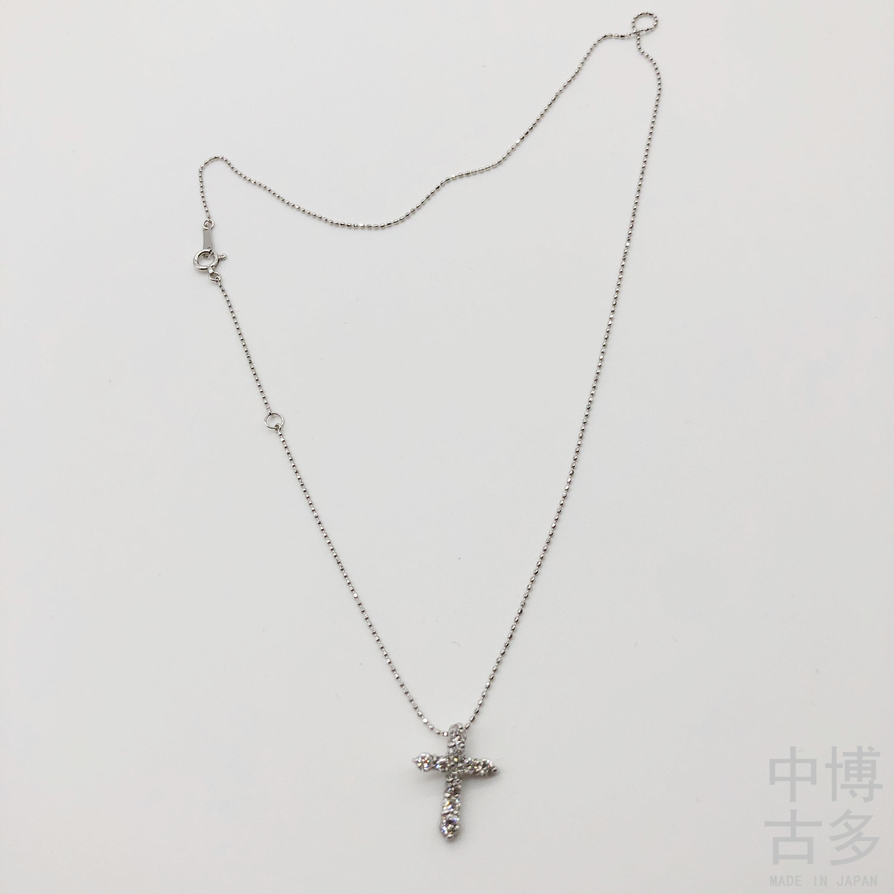 日本中古K金珠宝首饰 K18白金  钻石镶嵌钻石D/0.50 项链顺丰秒发
