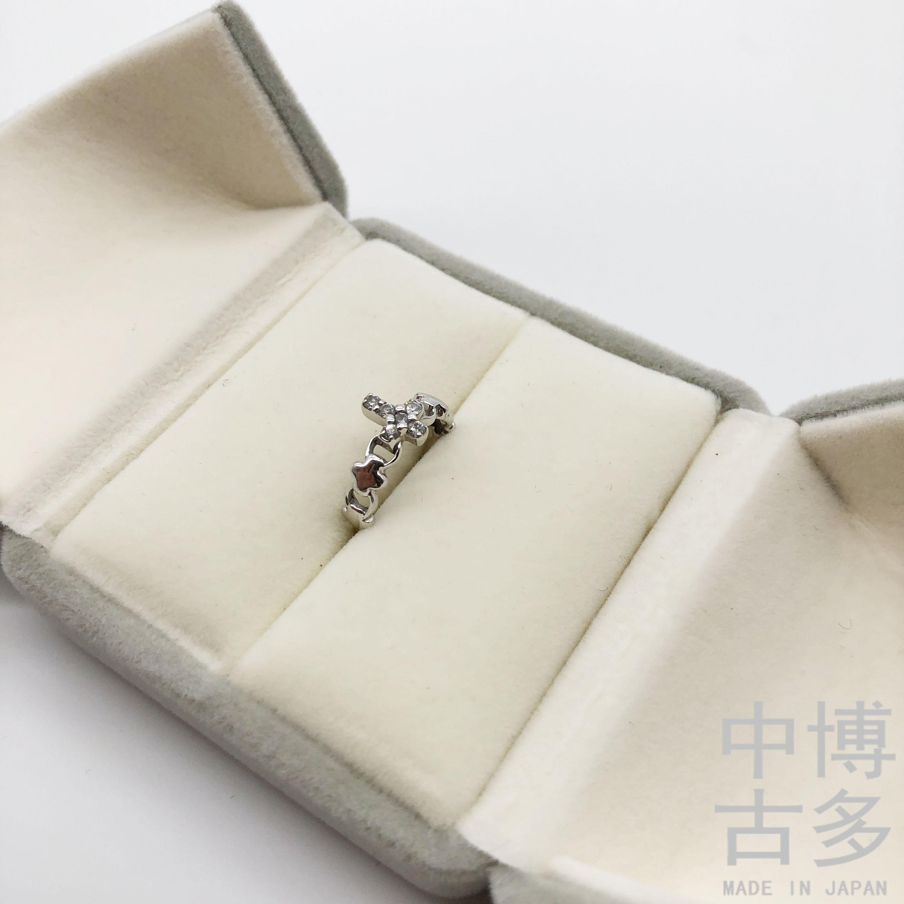 日本中古K金首饰 K18白金钻石戒指 艺术造型钻戒轻奢珠宝顺丰秒发